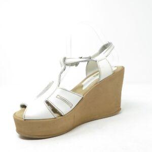 05cf2f2e414 Vtg 90s Skechers White Leather Peep Toe Platforms Wedge Sandals ...