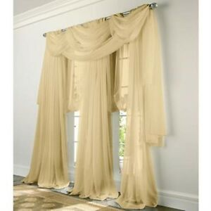 "Luxury 2 pc.Sheer Voile Panel,window curtain White Beige and Gold 54""x 63"" l"