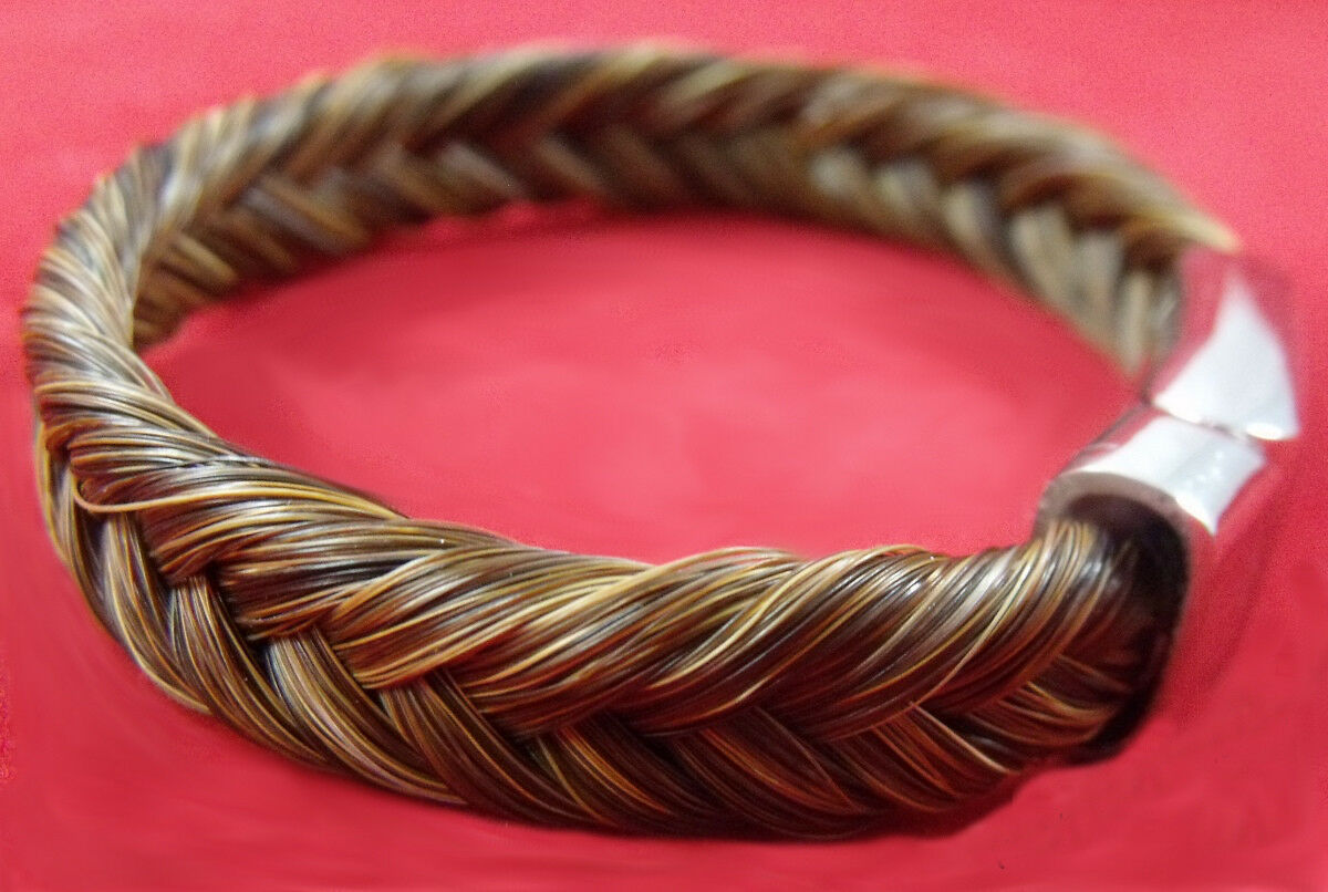 Exceptional hand-made magnetic clasp  horse hair hair hair bracelet sorrel-Marrone horsehair ce37e9