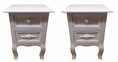 NEW PAIR OF SHABBY CHIC WHITE ROSE WOODEN BEDSIDE CABINET NIGHTSTAND SIDE TABLE