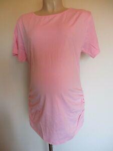 Classic-Rosa-Increspato-Maternita-T-Shirt-Top-Taglia-12-14-16-18-20-NUOVO