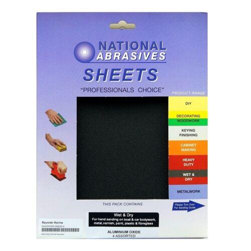 280mm x 230 mm Pack de 4 humides et sèches de l/'oxyde d/'aluminium feuilles papier de verre