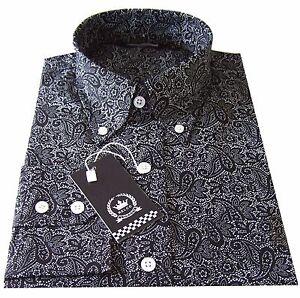 Relco Platinum Multi White Paisley Cotton Long Sleeved Retro  Button Down Shirt
