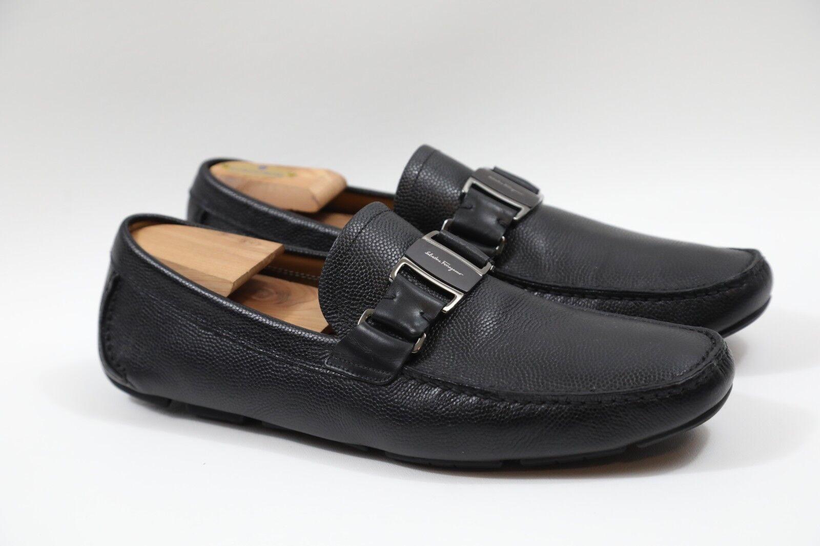 + SALVATORE FERRAGAMO 'Sardegna ' Black Leather Drivers Size 10 D   MSRP  630