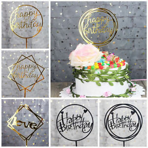 Image Is Loading HAPPY BIRTHDAY CAKE TOPPER Gold Black Party Cake