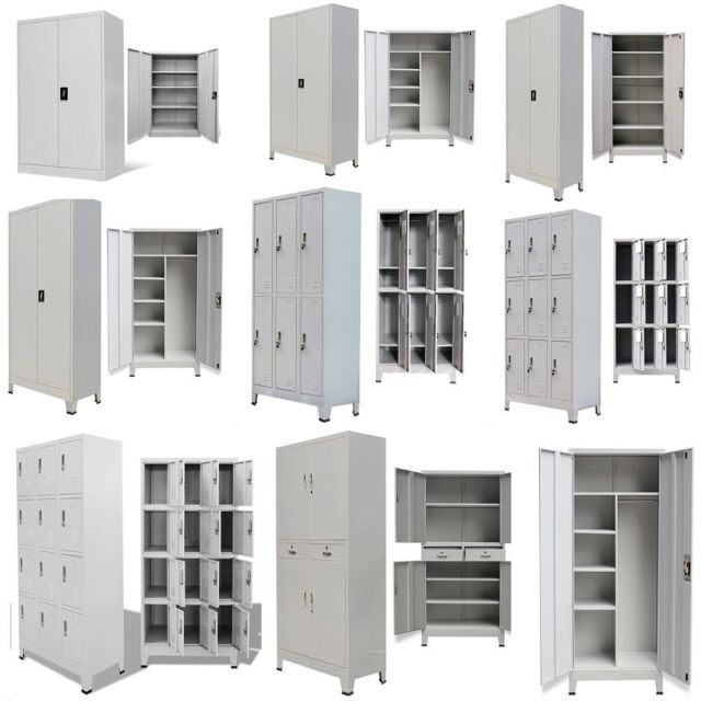 Metal Storage Office Cabinet 2/4 Door Cupboard Wardrobe Shelves Locker  Steel US