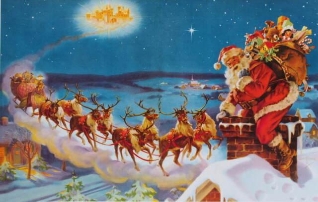 vintage Santa's Christmas Sleigh Reindeer on Rooftop