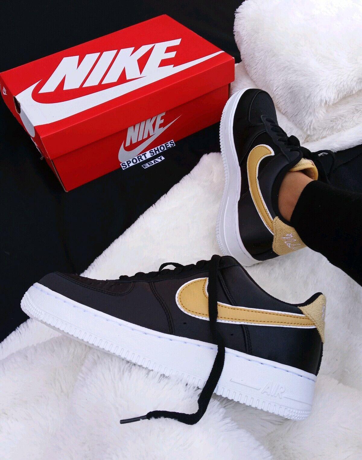 10.5 WOMEN'S Nike Air Force 1 07 BLACK RIBBON AA0287 005 YELLOW CASUAL