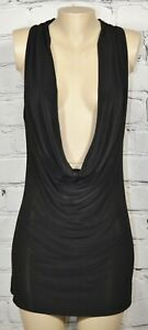 MARCIANO Black Sleeveless Scoopneck Cowl Dress Medium Lined Front Party Club USA
