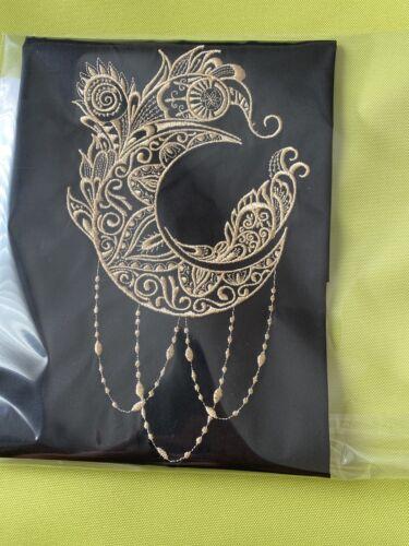 Bloque colcha bordada//Panel Grandes De Diseño Decorativa de media luna en oro