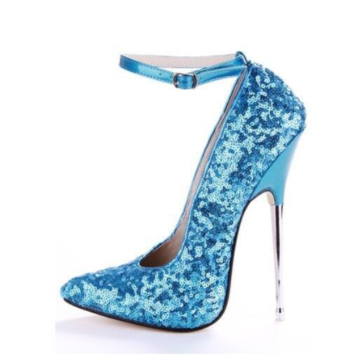 acquista online oggi donna Sexy Sequins Super Metal High High High Heels 16cm Ankle Buckle Pumps Clubwear Shoe  consegna e reso gratuiti