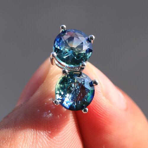 Fashion Round Cut Aqua Blue Aquamarine Boucles d/'oreille argent 925 Mariage Bijoux