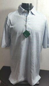 Mens-Bobby-Jones-Polo-Golf-Shirt-NWT-Striped-White-Blue-Red-SZ-M-Cotton-98-50