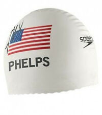 Michael Phelps 2008 Printed Signature Speedo swim cap WHITE
