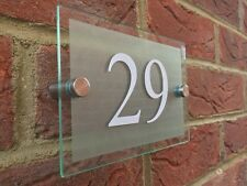MODERN HOUSE/HOTEL SIGN PLAQUE WHITE DOOR NUMBER GLASS EFFECT ACRYLIC