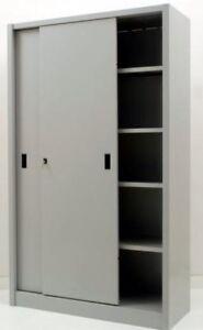 Dettagli su Armadio archivio mobile ufficio in metallo con ante scorrevoli  120x45x200 grigio