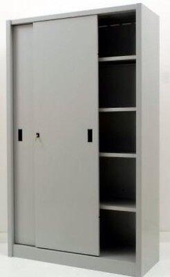 Armadi Metallici Ante Scorrevoli.Armadio Archivio Mobile Ufficio In Metallo Con Ante Scorrevoli 120x45x200 Grigio Ebay