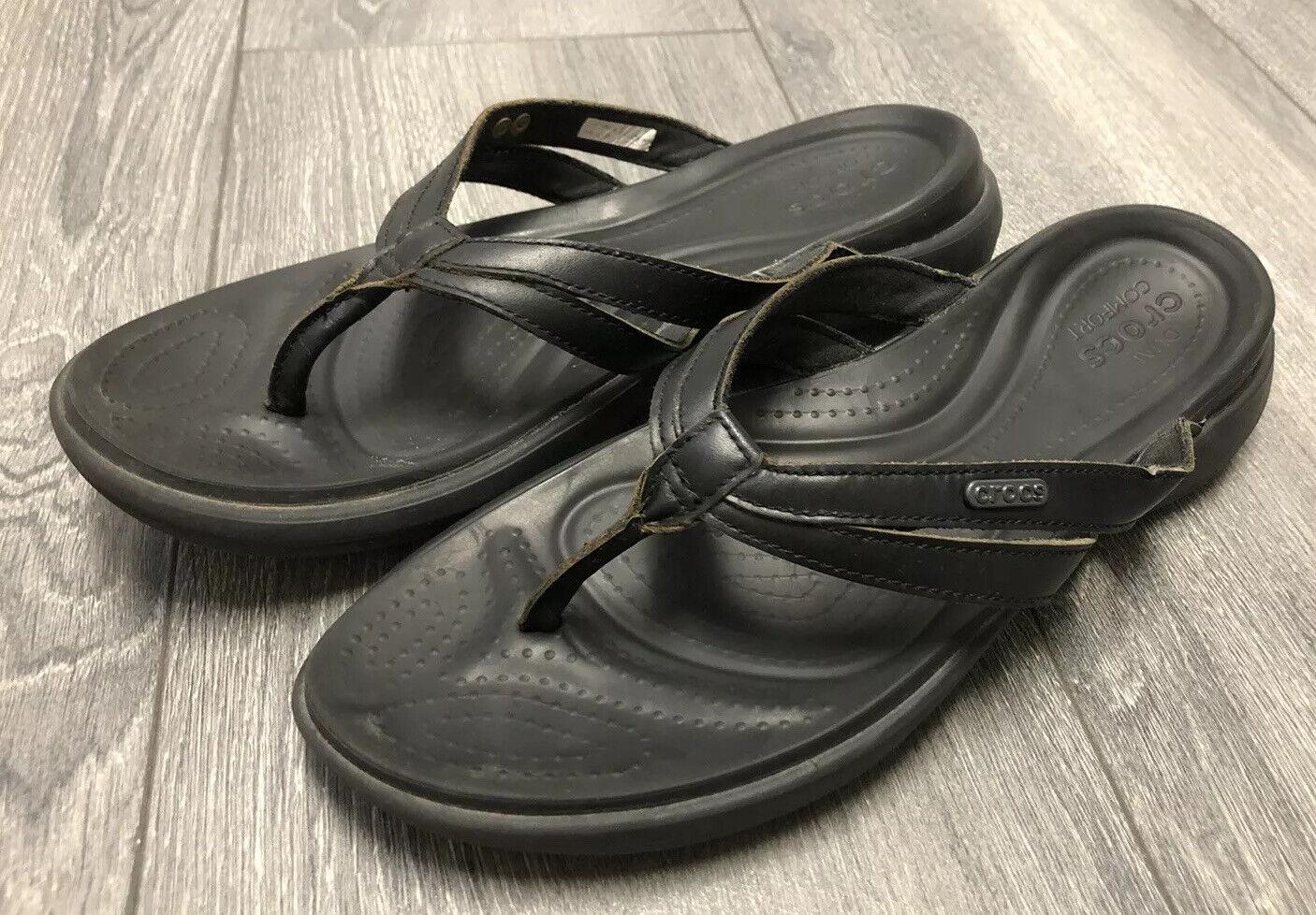 Crocs Dual Comfort Thong Sandals Leather Straps Solid Black Size 10