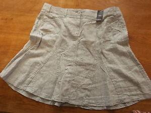 "New Ex-M&S Ladies Grey 100% Linen A Line Skirt Sz 18 Lgth 22"" (£22)"
