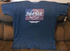 HARD ROCK CAFE UNIVERSAL STUDIOS HOLLYWOOD NAVY BLUE FLAG LOGO T-SHIRT 3X-LARGE