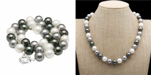 """8//10//12mm Noir Blanc Gris South Sea Shell Pearl Round Bead Necklace 18//24//36/"""""""