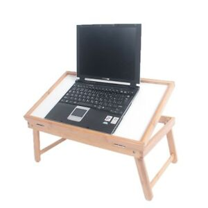 Wood-Breakfast-Bed-Tray-Lap-Desk-Serving-Table-Foldable-Legs-Bamboo-Food-Dinner