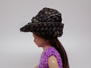 1-12-Scale-Woven-Straw-Black-Hat-Doll-House-Miniature-Accessory