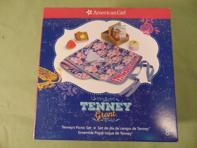 American Girl NEW Tenney Picnic Set Menu blanket tray fruit tea chicken + NRFB