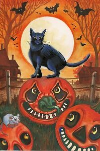 1.5x2 DOLLHOUSE MINIATURE PRINT OF PAINTING RYTA 1:12 SCALE HALLOWEEN BLACK CATS