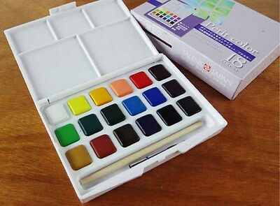 New Sakura Petit 18 Color Solid Sketch WaterColor Assorted Pocket Brush Box Set