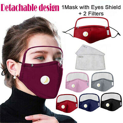 1PC Kids Children Boys Girls Washable Reusable Face Guard Protection Covers With Filter And Detachable Eye Shield+2 Filters Black