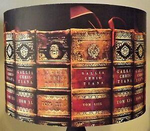 LIBRO-Antico-Paralume-Paralume-VECCHI-LIBRI-Biblioteca-Script-d-039-oro-rosso-regalo-gratuito