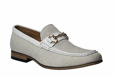 La Milano Men's White Leather & Fabric Slip On Dress Shoes A11409