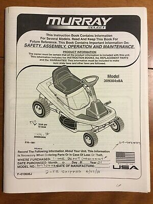 Murray Lawn Mower Tractor Owners Manual Parts List Model 309304x8a Ebay