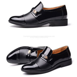 Men-Business-Dress-Oxfords-Leather-Shoes-Pointed-Toe-Wedding-Formal-Office-Shoes