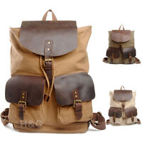 Travel Canvas Leather Backpack Rucksack Camping Hiking School Shoulder Bags New