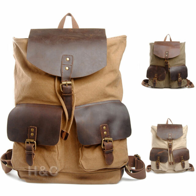 Travel Canvas Leather Rucksack Camping Hiking  Backpack School Shoulder Bags New