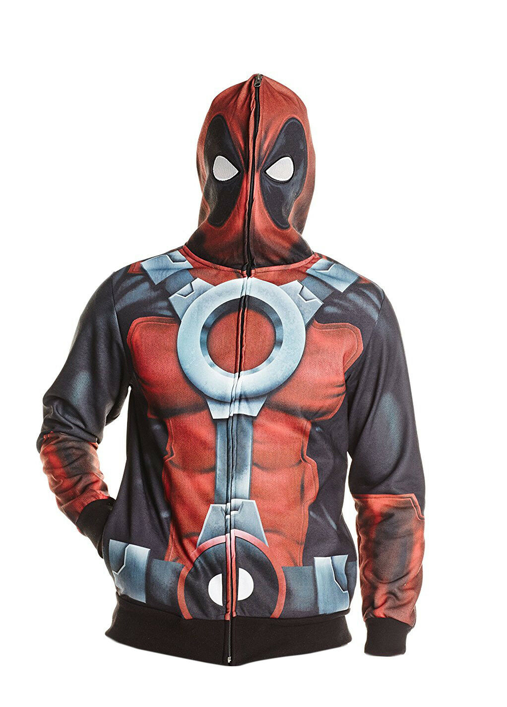 Marvel Deadpool Costume Zip Up Hoodie Sweatshirt