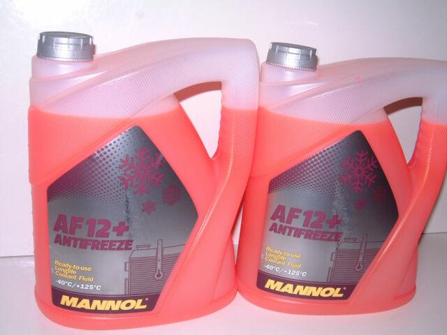 Coolant Antifreeze AF12+ RED Ready Mixed -40°C 10L German Hi Spec - 2 x 5L