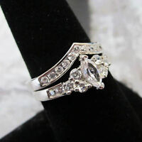 Two Ring Set Wedding Band Silver Platinum Rhodium Cz Size 5, 6, 7, 8, 9