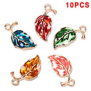 10Pcs-Enamel-Alloy-Leaf-Leaves-Charms-Metal-Pendants-DIY-Craft-JewelryDIY-HOT-NE