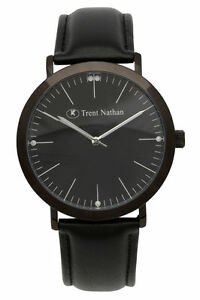 NEW-Trent-Nathan-Black-Leather-Gents-Watch-Tng103G3