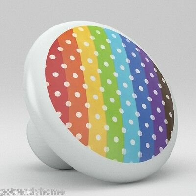 Rainbow Retro Dot Polka Ceramic Knobs Pulls Kitchen Drawer Cabinet Vanity 504