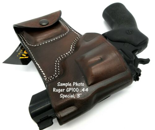 Ammo Pouch for RUGER GP100 357 44 TAGUA Dark Brown Leather RH OWB Belt Holster