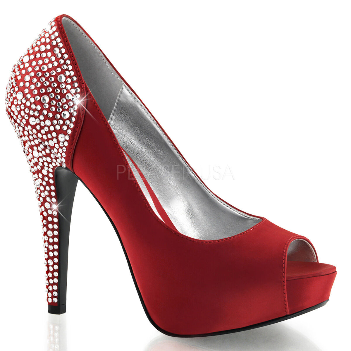 PLEASER Sexy red Red Satin Satin Satin 5  Heels Pumps Platform Rhinestone Evening shoes 3d6419