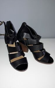 e5fadc4a929 Details about NEXT Black Leather Strappy Block Heel Sandal Shoes - Size 4.5