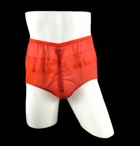 Zip Underwear Briefs Panties Zipper Split Front Nylon Knicker Lace Trim Brown
