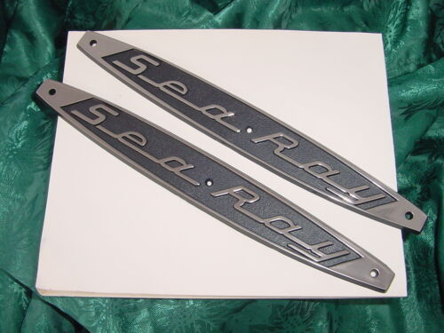 SEARAY SEA RAY LOGO EMBLEM BOAT NAMEPLATE 3 holer PAIR NEW BLACK CHROME TRIM