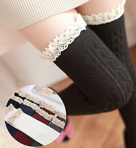 Comfortable-Over-the-Knee-Cotton-Blend-Rib-And-Weave-Chain-Lace-Trim-Socks