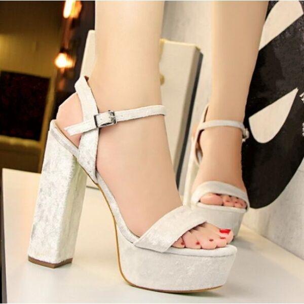 Sandales femmes Élégant talon carré 13.5 cm blanc confortable Élégant CW684